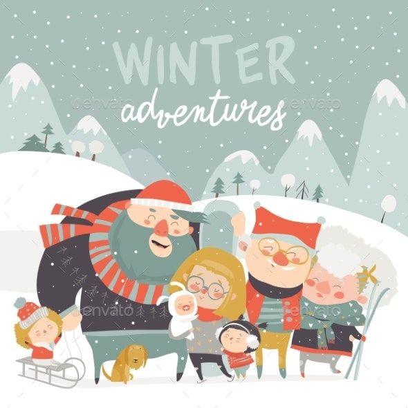 Winter Season Background People Characters Winter Outdoor Activities Seasons Winter Season