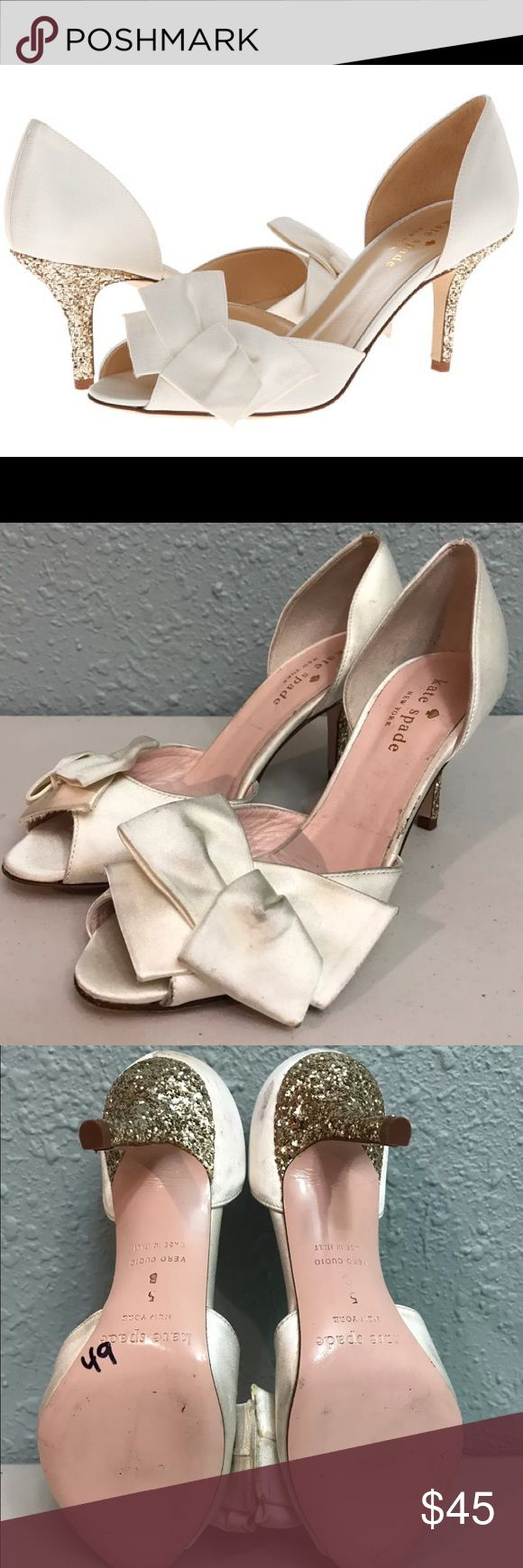 """Kate Spade """"Sala"""" Satin Bow Glitter Heels size 5 These are cream colored with a satin bow peep toe and gold glitter heel. These were never worn outside but are floor sample / used as display in store so there are marks on them -- selling as fair condition. I would love to keep these but I have wide toes so it's a little tighter than I would like. Needs to be professionally cleaned. This currently sells on like for over $300. Nordstrom is one vendor. First photo is a stock photo kate spade…"""