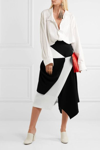 J.W.Anderson - Asymmetric Wrap-effect Crepe Skirt - Black - UK