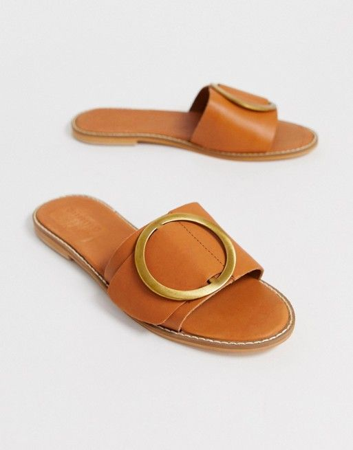 3db15e066297b Warehouse | Warehouse buckle detail mule in tan leather | Charge it ...