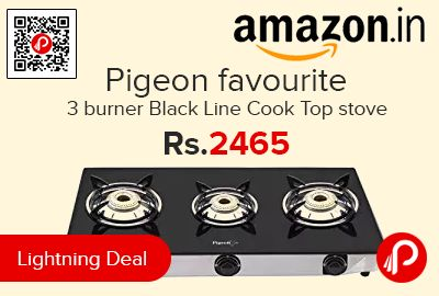 Amazon #LightningDeal is offering 17% off on Pigeon favourite 3 burner Black Line Cook Top stove at Rs.2465 Only. 3 Burner Manual Ignition Glass top body, Stainless steel with glass top, 2 Years Manufacturer Warranty.  http://www.paisebachaoindia.com/pigeon-favourite-3-burner-black-line-cook-top-stove-at-rs-2465-only-amazon/