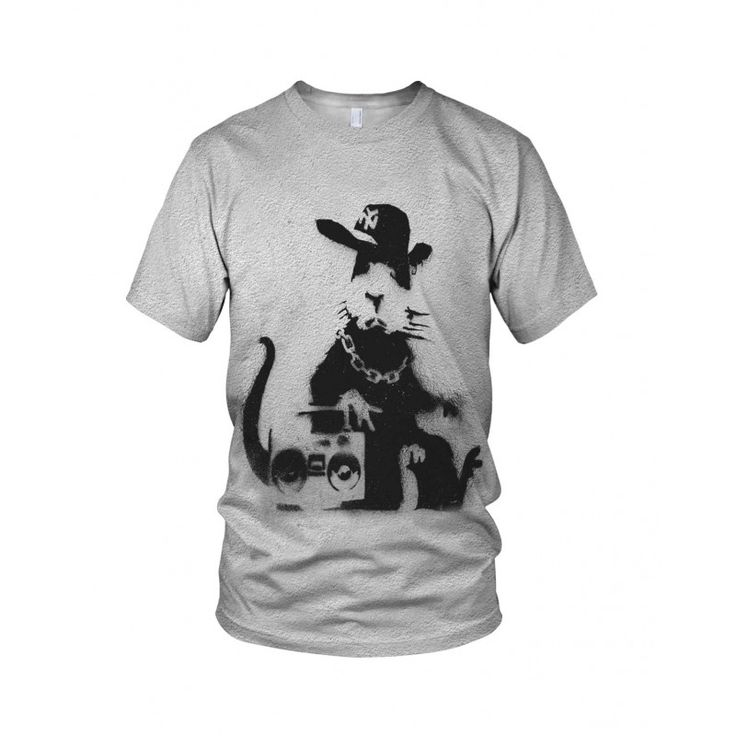 """Rap Rat, from the collection of """"Hand Printed"""" Designs by the prolific street artist known as """"Banksy"""".   More Designs and Styles on the Store: http://www.globalmusicollective.com/store/?product_cat=banksy"""