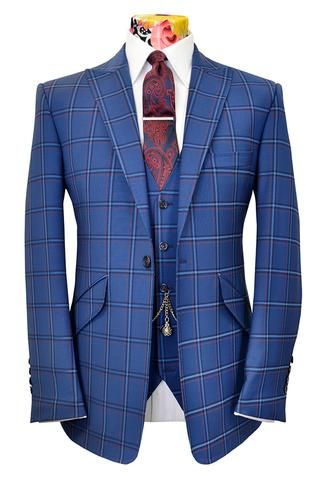 The Ashmore Persian Blue Suit with Indigo, Orange & Cornflower Overcheck