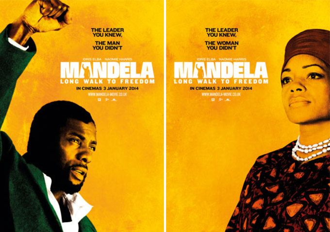 New Character Posters For Idris Elba & Naomie Harris As Nelson & Winnie Mandela. Movie poster featuring Idris Elba as Nelson Mandela. Mandela: Long Walk to Freedom, directed by Justin Chadwick, highlights Mandela's early life, education and 27 years in prison.  The Weinstein Company will open it on November 29, 2013.
