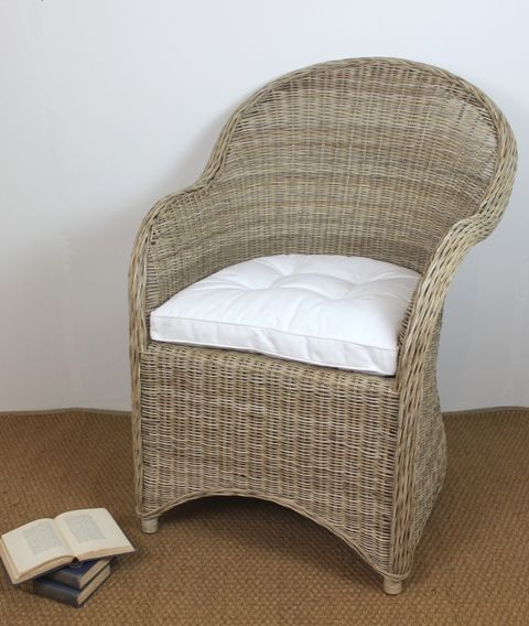 The classic VR Garden Chair with cushion will bring an instant touch of coastal elegance to your home. This collection is suitable for deep verandas, covered patios and sunrooms. #rattan #frenchinspired