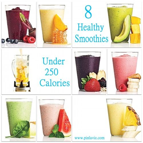 8 Healthy Smoothies Under 250 Calories- good to know, my biggest issue with smoothies is that sometimes all those healthy ingredients add up to way too many calories for breakfast!