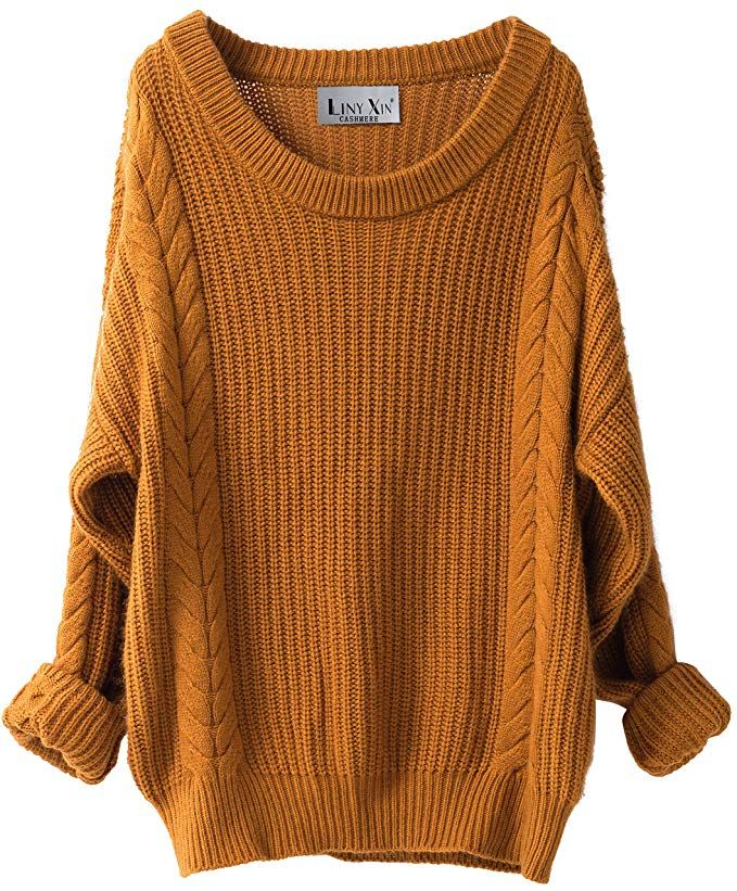 04d3eb1ea57 Liny Xin Women s Cashmere Oversized Loose Knitted Crew Neck Long Sleeve  Winter Warm Wool Pullover Long Sweater Dresses Tops (Ginger)