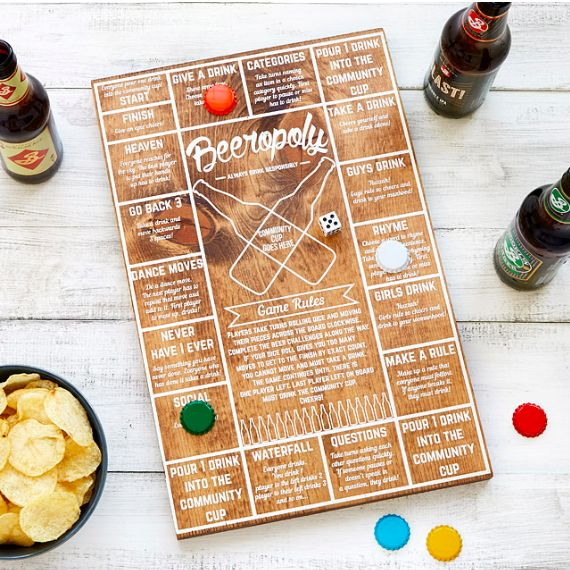 Beeropoly, a game in which you roll the die and let your beer cap guide you across the challenge-filled board. | 33 Gifts That Every College Student Will Appreciate