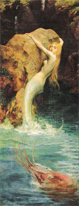 The mermaid by William A. Breakspeare The poor mermaid is hanging onto the rock for dear life against what looks to be a ginormous shrimp.
