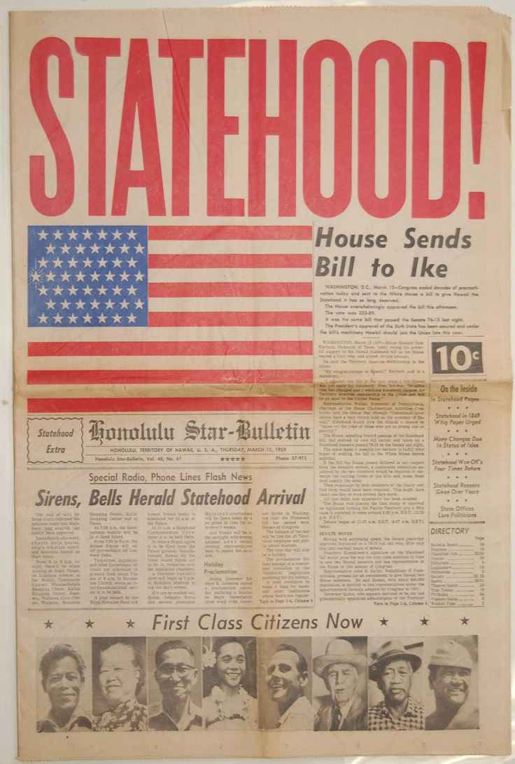 Hawaii Statehood - Honolulu Star-Bulletin  $395