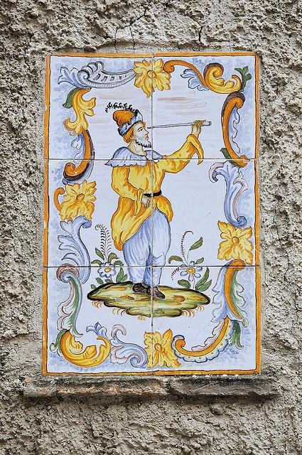 Majolica Decoration on a Wall, Caserta Vecchia by raffer, via Flickr