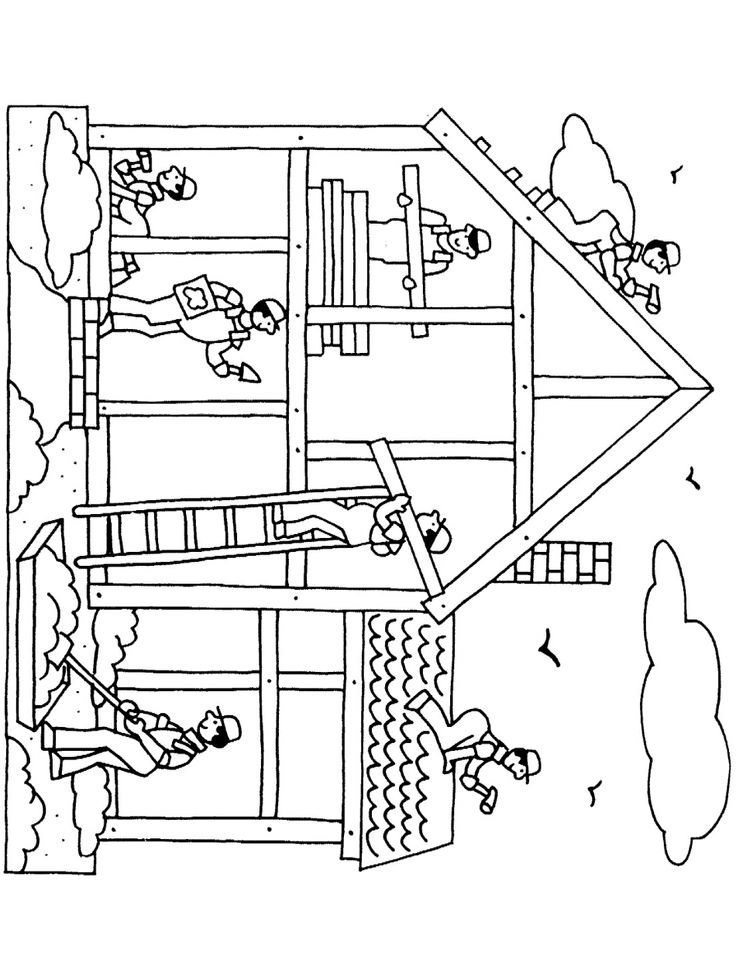 Contruction Workers Coloring Page • FREE Printable eBook