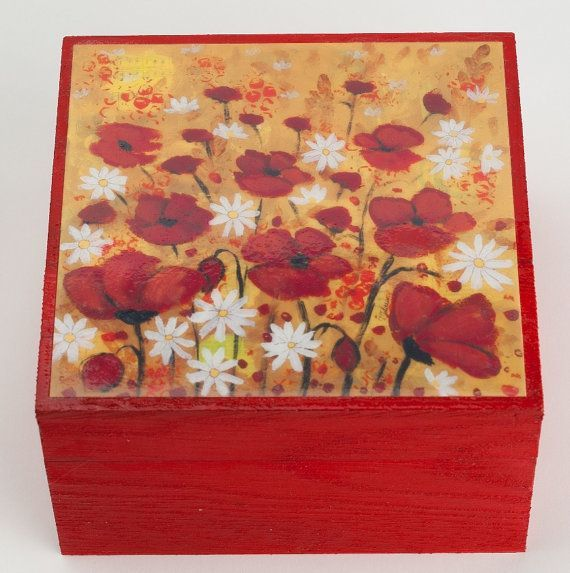 Hand Painted Jewelry Field Wooden Artwork Print Poppy by TeodoraPainting, $22.00.... >>> Find out even more by clicking the image