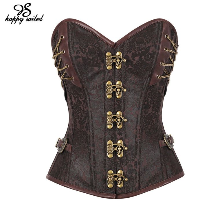 14 Steel Bones Steampunk Corset with Thong women lingerie Vintage Gothic Waist Cincher BODY SHAPER Bustiers and Corsets 50015