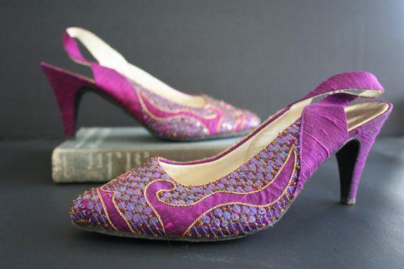 Purple Beaded Sequin Shoes, Regal Vintage Pumps, Slingback Gold Plum High Heels…