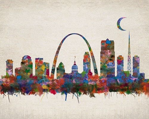 St Louis Missouri City Skyline Watercolor Faux Vintage Background Unframed Giclee Fine Art Print  by Daniel Staniel
