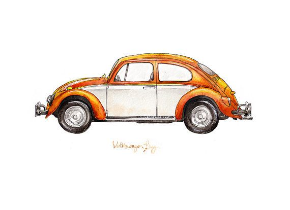 Original Art for boys room- ETSY Creamsicle Volkswagon Bug classic automobile by FlightsByNumber, $20.00
