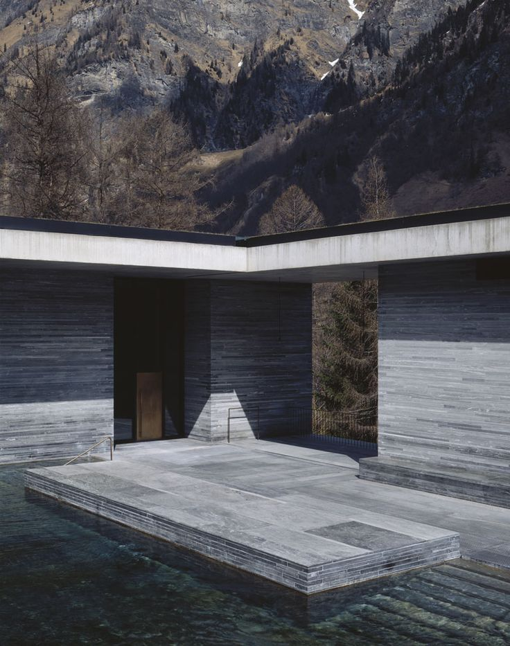 Thermal Bath Vals by Peter Zumthor (Pritzker winner in 2010) - google more images of this project. It's the most incredible use of materials
