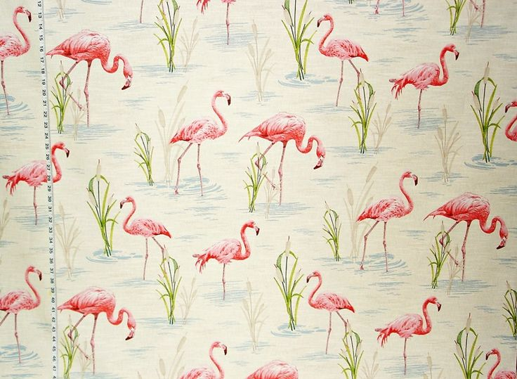 Curtain fabric for spare bedroom | Flamingo fabric retro tropical pink toile from Brick House Fabric