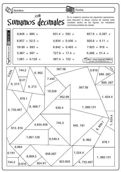 Sumas decimales … | actividades escolares | Pinterest | Math, School ...