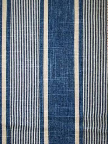 "Berkley Stripe Indigo -  Waverly Fabric Williamsburg blue stripe print. 55% LINEN 45% RAYON, 6.75"" repeat, 54"" wide - $21.95 yd"