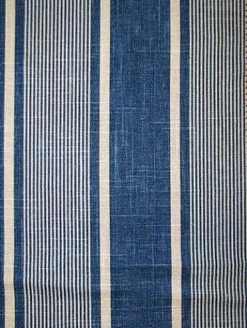 "Berkley Stripe Indigo -  Waverly Fabric Williamsburg blue stripe print. 55% LINEN 45% RAYON, 6.75"" repeat, 54"" wide - $21.95 yd"