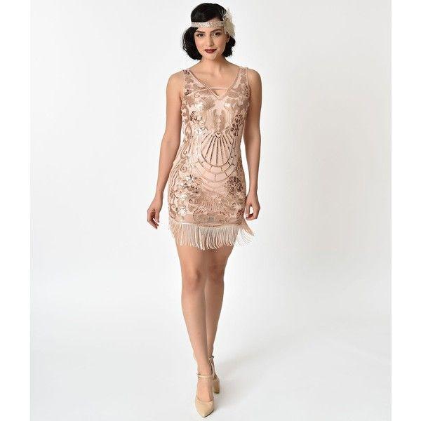 6e8def4b Verte 1920S Style Pink & Rose Gold Sequin Fringe Cocktail Dress ($78) ❤  liked