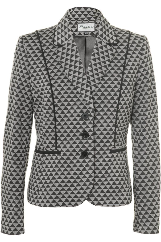 Busy Ladies Black And Grey Geometric Pattern Jacket