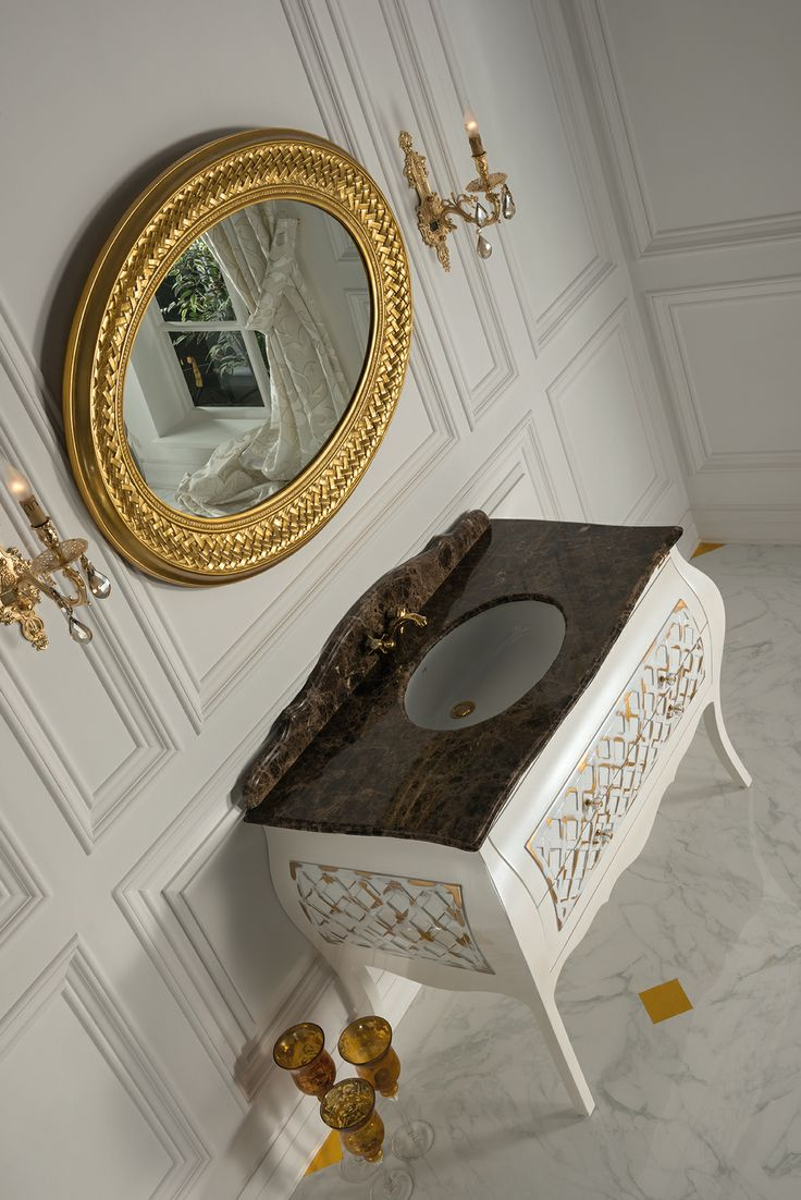 Topex Armadi Art Allegro white pearl and gold bath vanity from our Classic Collection!
