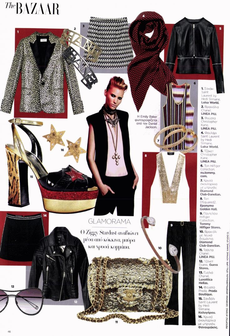 HARPER'S BAZAAR SELECTION. Red, black, gold and lots of Glamorama for the issue of Bazzaar. ♦ Earrings_18K gold with white round brilliant diamonds. ♦ Bracelet+18K white gold with two pear shaped diamonds. Danelian Diamonds Club