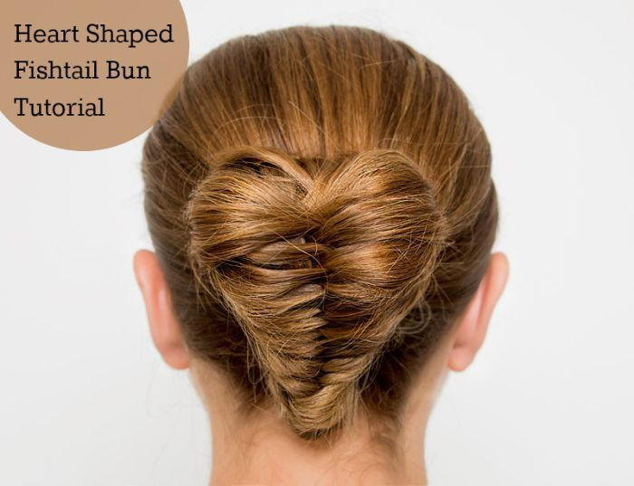 Heart shaped fishtail braid bun hair tutorial. This hairstyle would look great for a wedding. It's easier than it looks, too!