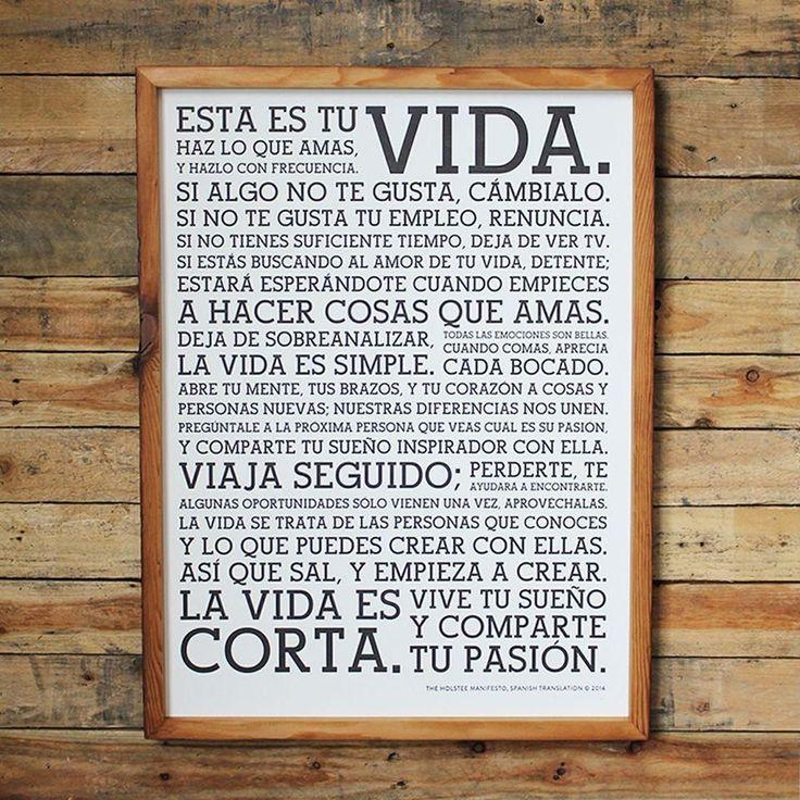 Holstee Manifesto Spanish Framed #spanishwords