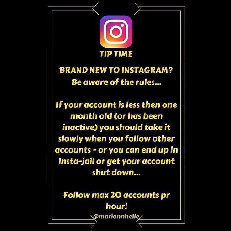 Tip time: Do you have a new account or has your account been inactive... Though it is tempting to go ahead and follow lots and lots of accounts immediately (because there are so many awesome accounts out there!!) you really need to take it slow to reduce the risk of Insta Jail...   The recomandations for a new/inactive account are to follow max 20 accounts pr hour in the beginning and at the same time engage with others with likes  and comments  If you do this too quickly Instagram will…