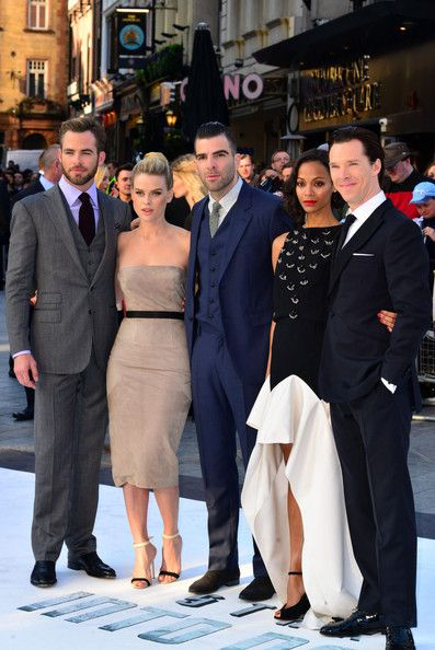 Benedict Cumberbatch Chris Pine, Alice Eve, Zachary Quinto, Zoe Saldana and Benedict Cumberbatch attend the 'Star Trek Into Darkness' premiere at the Empire Leicester Square in London.
