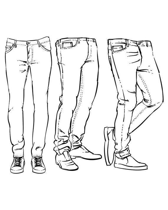 Hand drawn fashion design men's jeans outline. clipart commercial use, vector graphics, digital clip art, digital images (EPS, JPG)