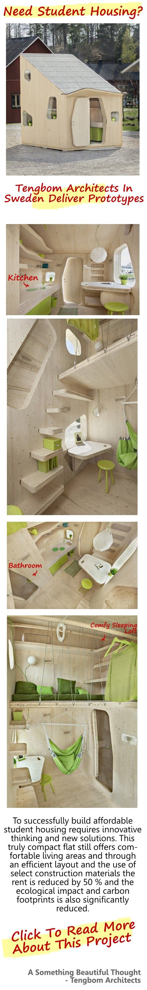 To meet the needs of students in a sustainable, smart and affordable way was the key questions when Tengbom Architects in collaboration with students at the University of Lund, Sweden was designing this student unit of 10 square meters. #affordable_micro_student_homes, Tengbom_Architects_student_housing_project, #sweden_student_living_project, #small_apartments,
