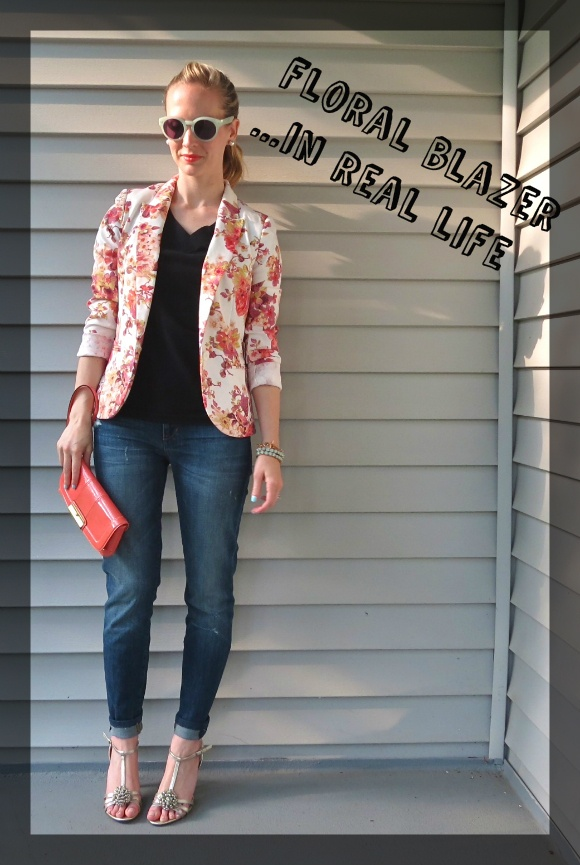 "Floral Blazer and ""Bankle"" Jeans"