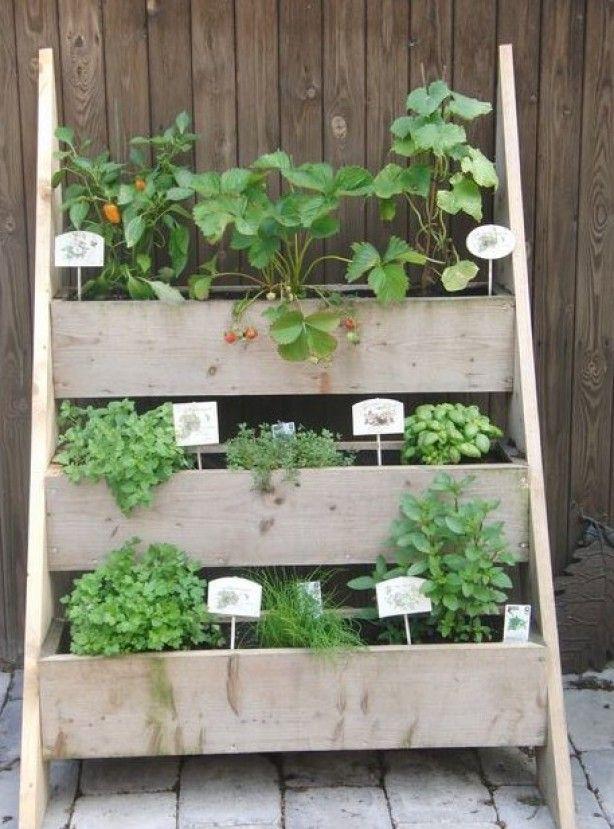 mijn mooie kruiden tuin van oud hout gemaakt
