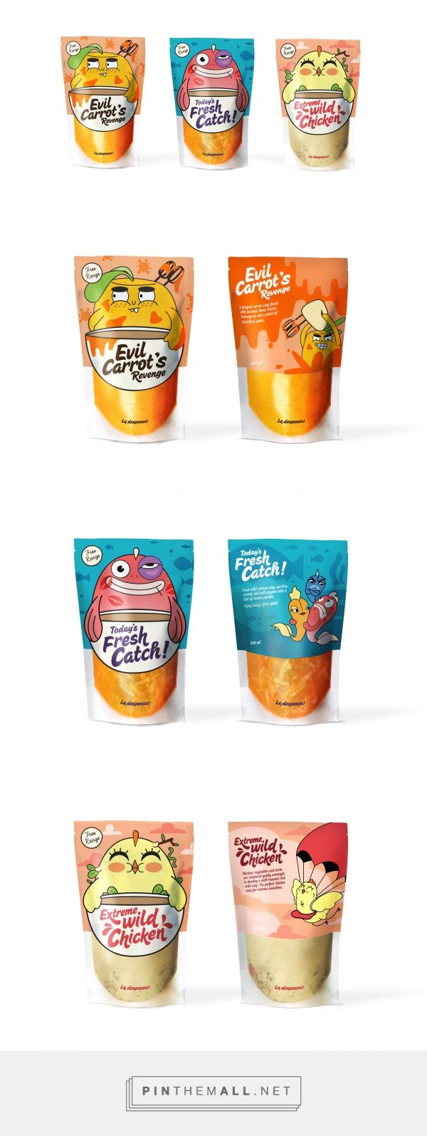 La Despensa by Nadia Arioui curated by Packaging Diva PD. Global re-branding and packaging of soup brand. Clever use of humor and playful characters appeals to both Children and Adults alike : )