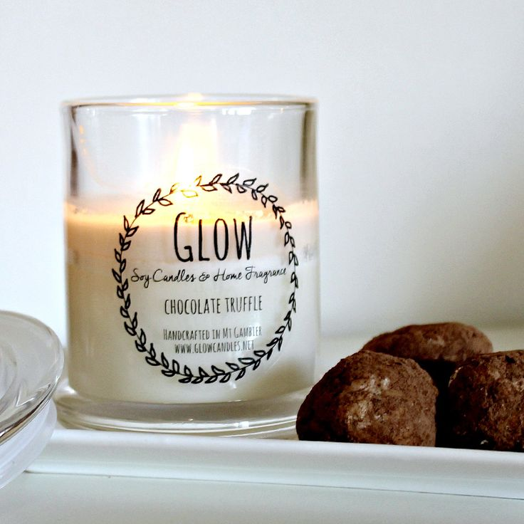 Chocolate Truffle scented candle available from www.glowcandles.net  Handcrafted soy candles made in South Australia