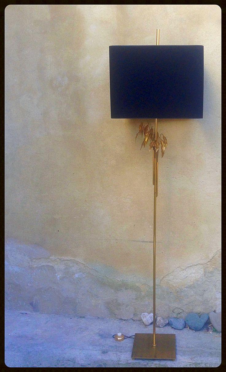 Abat-jour carré noir intérieur or sur mesure pour lampadaire maison Charles
