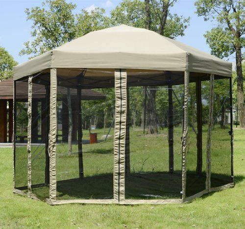 Portable Hexagonal Garden Canopy w/ Mesh Netting Outdoor Patio Gazebo by homcom. $119.99. Hexagon canopy brings the comfort and protection of the indoors outdoors. This Hex Gazebo is perfect to use at parks, backyard for family gathering, catering or parties.. Durable fabric canopy resists moisture and UV decay and stays looking great season after season. Zippered mosquito netting with good air permeability. Finger friendly push button mechanism. Relax without the Pest...
