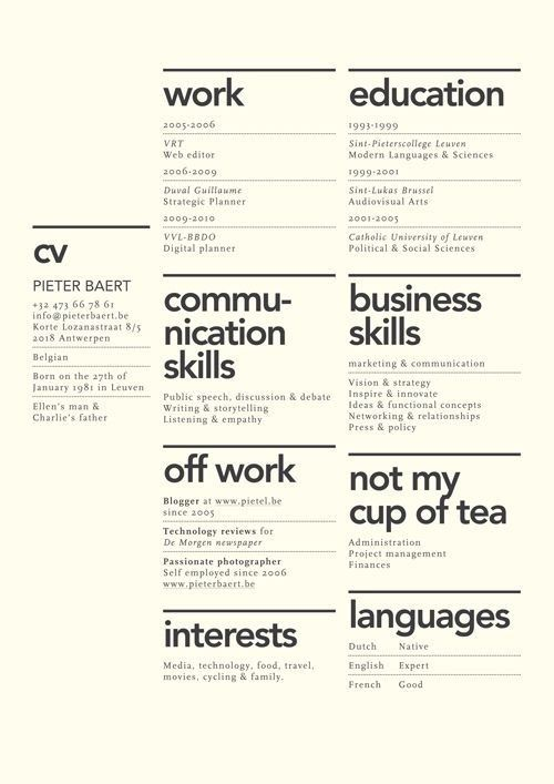 80 best NicE cV images on Pinterest Architecture, Creative - skills and interests on resume