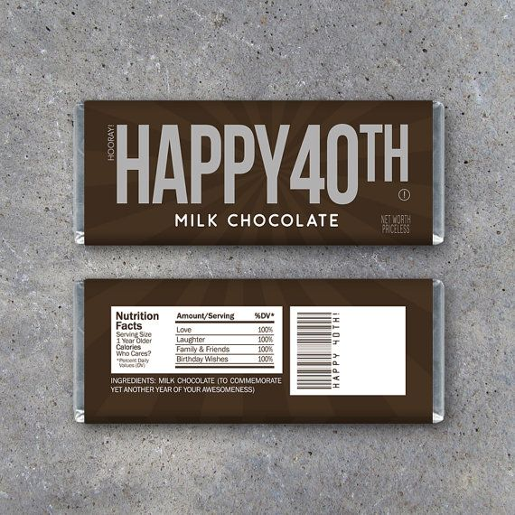 HAPPY 40TH Candy Bar Wrappers  Printable by Studio120Underground