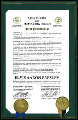 2013 Elvis Presley Day Proclamation