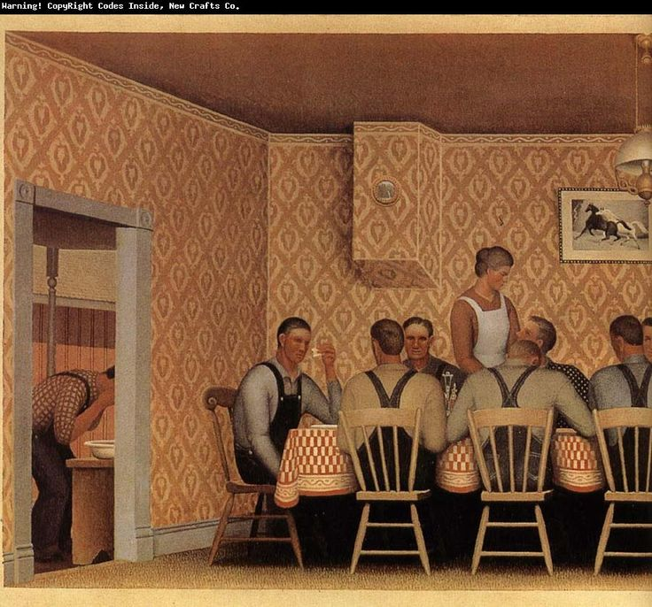 Grant Wood The Thresher-s supper.  I think I saw this in a museum in San Diego.
