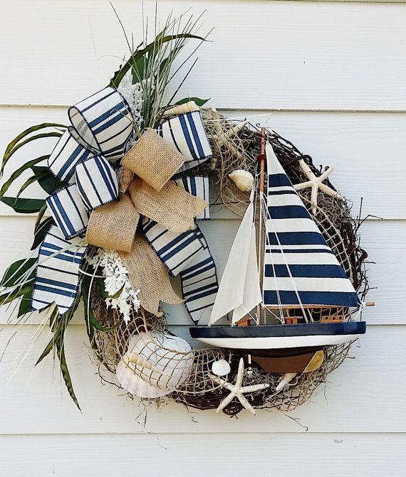 Sailboat Wreath, Ocean Wreath, Beach Wreath, Lake House Wreath, Beach House, Door Wreath, Wall Decor, Nautical Wreath, Sea Shell Wreath