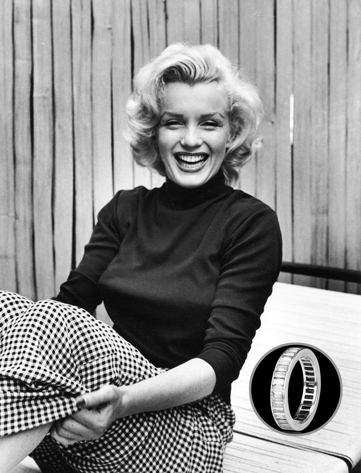 Marilyn Monroe's marriage to Yankee Joe DiMaggio may have been short-lived, lasting only eight months, but it birthed one of the most expensive diamond rings to date: A diamond eternity band, set in platinum and holding 35 baguette-cut diamonds. Minus one lost diamond, the ring was auctioned by Christie's in 1999, fetching an eye-dropping $772,500.    - Veranda.com