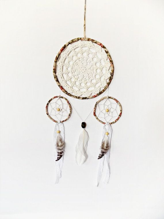 Floral dream catcher green white wall hanging bedroom by wincsike