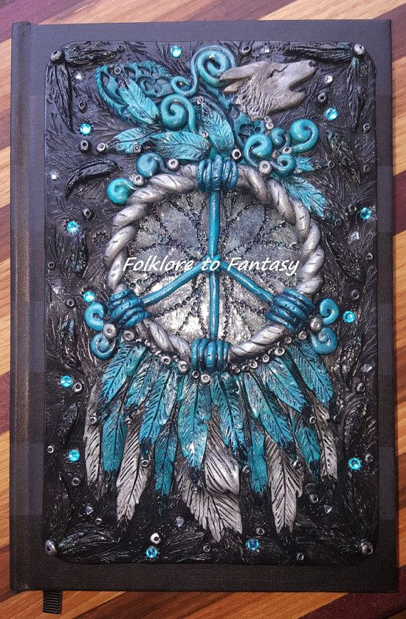 RESERVED for Terri -  *Peace Catcher* Polymer Clay Journal Cover - Folklore To Fantasy